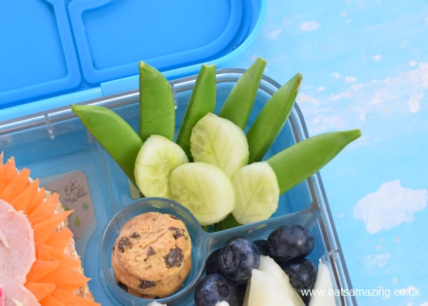 How to make a fun Missing Link themed bento lunch for kids - cute movie themed food art - jungle vegetables