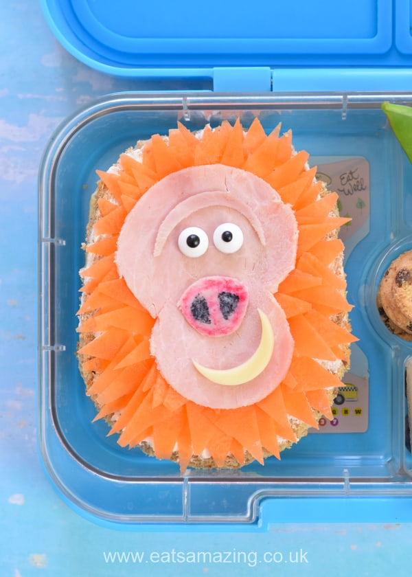 How to make a fun Missing Link themed bento lunch for kids - cute movie themed food art with Mr Link sandwich