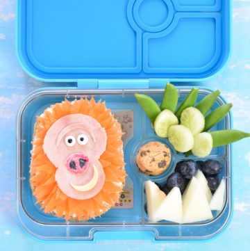 How to make a fun Missing link movie themed lunch with cute Mr Link sandwich - fun food art idea for kids