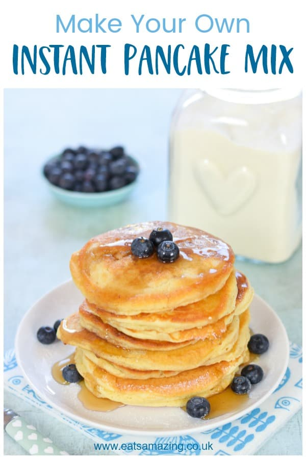 How to make a homemade instant pancake mix - easy American style pancakes recipe is eco friendly and a great plastic free alternative to ready made pancake mixes #EatsAmazing #pancakes #pancakeday #breakfast #plasticfree #ecofriendly #batchcooking #kidsfood #familyfood #homemade