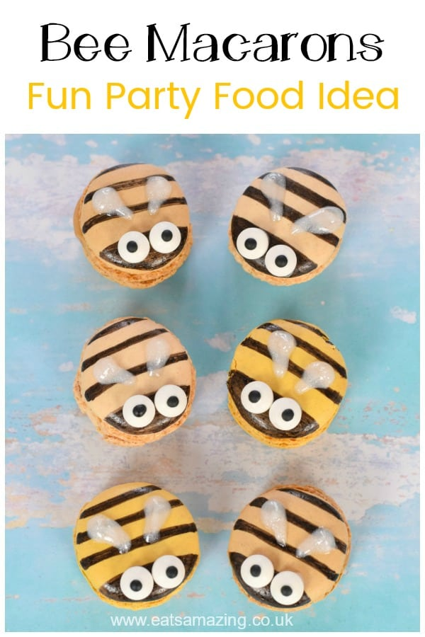 How to make cute and easy bee macarons - fun cheats recipe for bee themed party food #EatsAmazing #partyfood #funfood #foodart #kidsfood #bees #edibleart #macarons #cutefood #desserts #easyrecipe