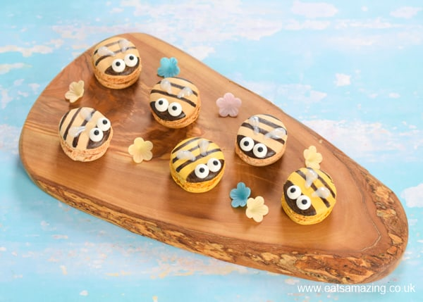 How to make cute and easy bee macarons using shop bought macarons - fun party treat idea for kids