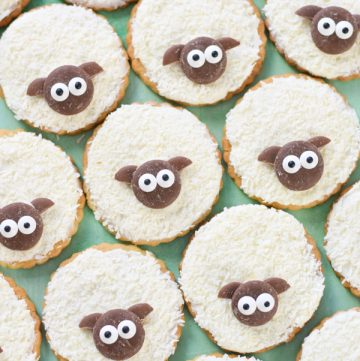 How to make cute and easy shortbread sheep cookies recipe - fun Easter treat to bake with kids