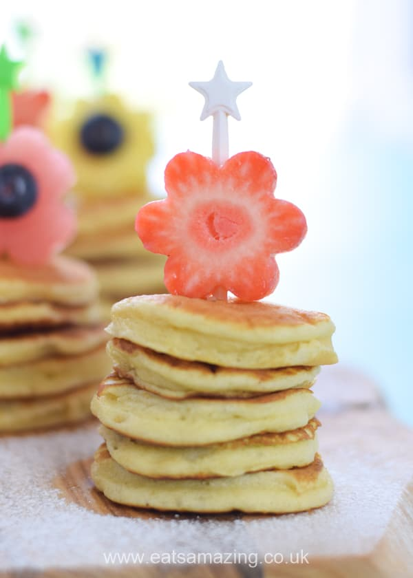 How to make cute fruit flower topped mini pancake stacks - fun breakfast recipe for kids