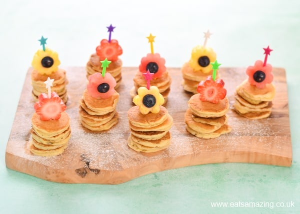 How to make cute fruit topped mini pancake stacks - fun spring or Easter breakfast recipe for kids