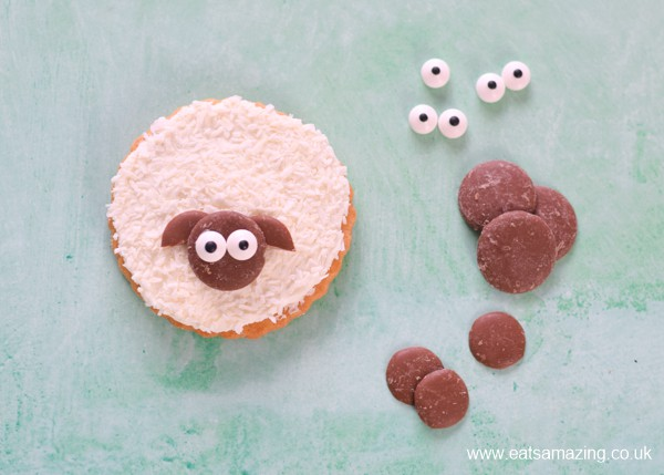 How to make shortbread sheep cookies - step 7 add chocolate button head to the cookie to finish