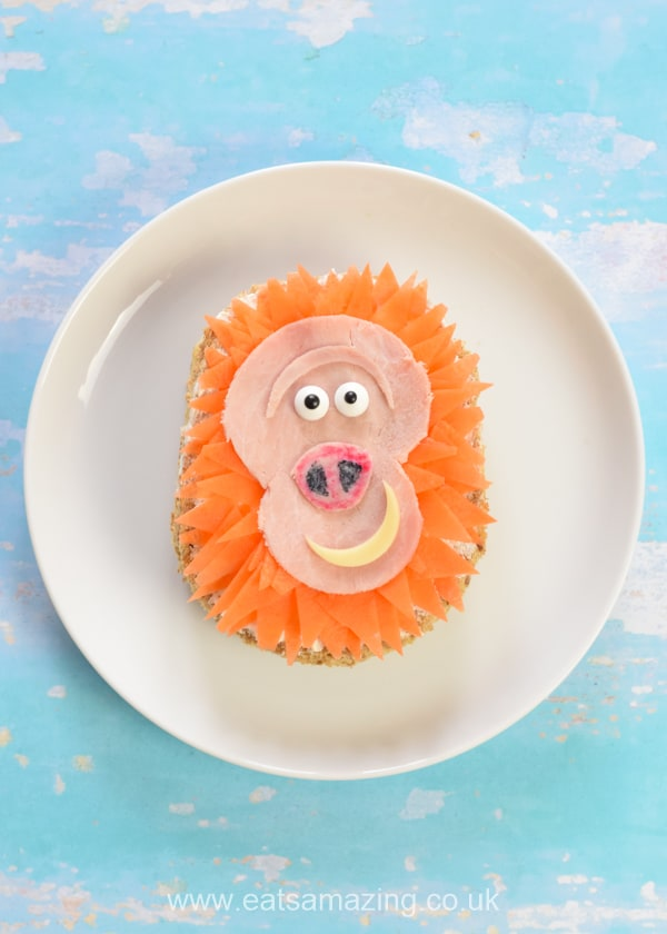 Mr Link Themed sandwich - fun movie themed food art for kids based on the film Missing Link