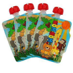 Nom-nom kids reusable food pouches - set of 4
