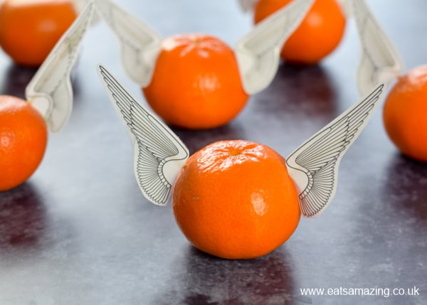 photo about Golden Snitch Printable named Edible Golden Snitch Oranges