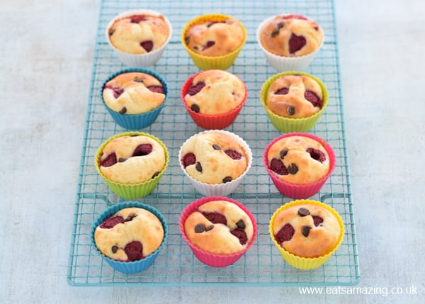 Quick and easy chocolate and raspberry pancake muffins recipe - fun make ahead family breakfast