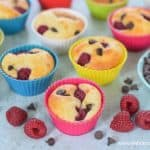Quick and easy raspberry chocolate chip pancake muffins recipe - a great make-ahead breakfast idea for kids