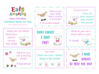 photo relating to Printable Lunchbox Notes titled Sheep Themed No cost Printable Lunchbox Notes for Children