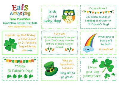 St Patricks Day Themed FREE Printable Lunchbox Notes for kids - head over to the blog post to download and print your own set