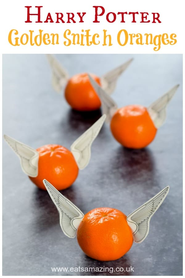 These fun and easy golden snitch oranges are perfect for Harry Potter party food for kids - with free paper wings printable #EatsAmazing #harrypotter #harrypotterparty #partyfood #worldbookday #kidsfood #funfood #foodart #edibleart #quidditch #snitch