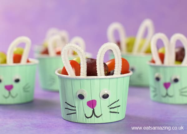 Cute and easy Easter Snack Cups - fun and healthy bunny themed food for kids this Easter