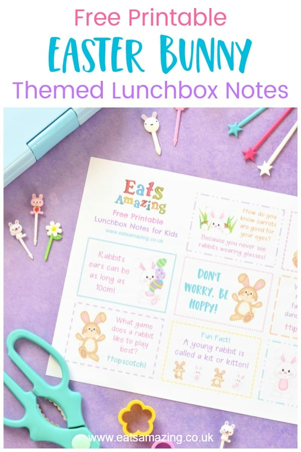 Download your FREE Easter Bunny themed lunchbox notes for kids - with bunny rabbit jokes quotes and fun facts #EatsAmazing #Easter #eastercrafts #lunchbox #lunchboxnotes #schoollunch #lunchnotes #kidsfood #funfood #bento #packedlunch #printable #freeprintable #jokes #funfacts