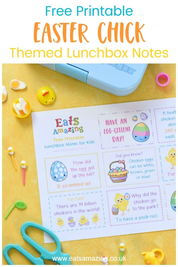 Download your FREE Easter Chick themed lunchbox notes for kids - with egg and chicken jokes quotes and fun facts #EatsAmazing #Easter #eastercrafts #lunchbox #lunchboxnotes #schoollunch #lunchnotes #kidsfood #funfood #bento #packedlunch #printable #freeprintable #jokes #funfacts