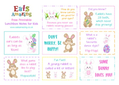 Easter Bunny Themed FREE Printable Lunchbox Notes for kids - head over to the blog post to download and print your own set