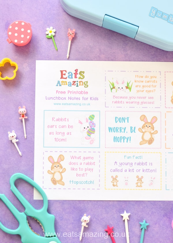 FREE Printable fun Easter lunchbox notes with cute bunny themed jokes quotes and fun facts for kids