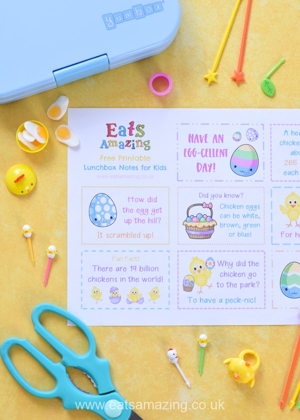 FREE Printable fun Easter lunchbox notes with cute chick themed jokes quotes and fun facts for kids