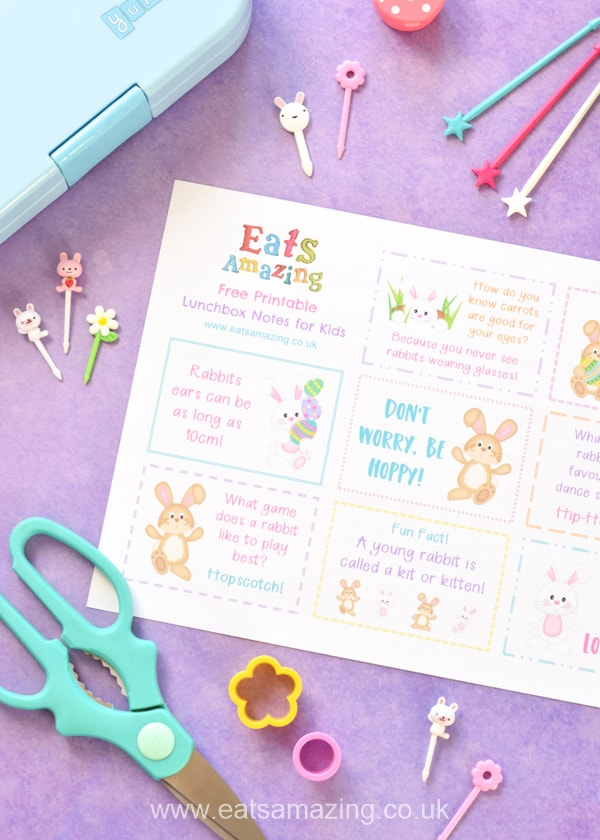FREE cute Easter bunny themed printable lunchbox notes for kids - perfect for a fun school lunch surprise