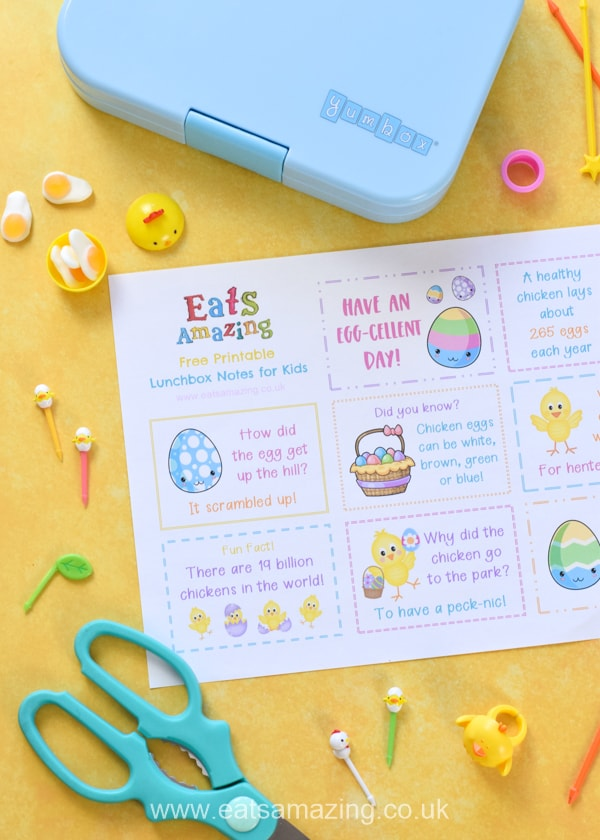 FREE cute Easter chick themed printable lunchbox notes for kids - perfect for a fun school lunch surprise