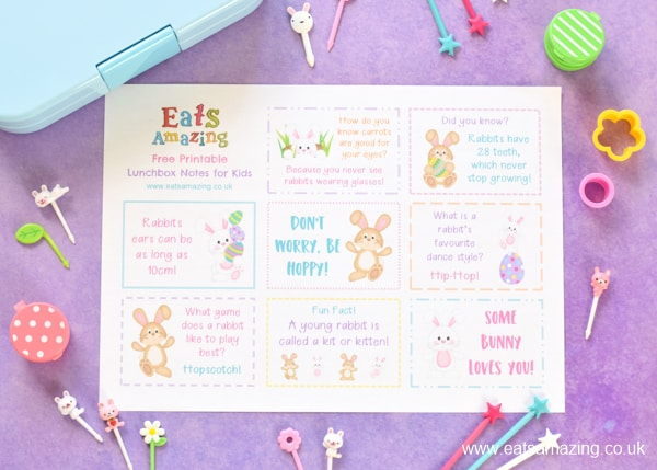 Fun Easter bunny themed lunchbox notes for kids - free printable to download for fun Easter lunches
