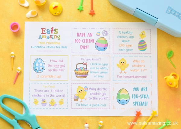 Fun Easter chick themed lunchbox notes for kids - free printable to download for fun Easter lunches