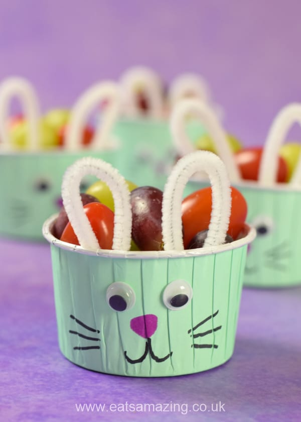 How to make cute Easter bunny snack cups - healthy fun food idea for kids this Easter