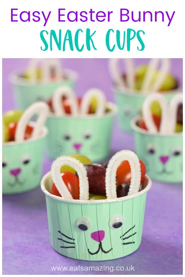 How to make cute and easy Easter Bunny Snack Cups - fun healthy Easter food idea for kids #EatsAmazing #Easter #EasterCrafts #EasterFood #EasterFun #kidsfood #funfood #kidscrafts #easterbunny #healthykids #snackideas