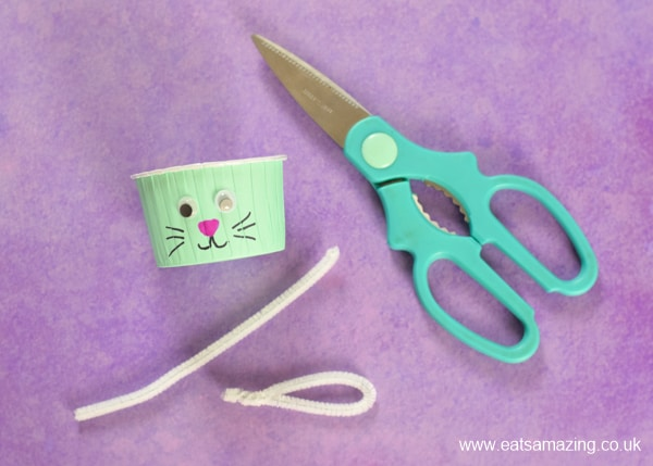 How to make easy Easter Bunny Snack Cups fun food tutorial for kids - step 4 make ears from pipe cleaners