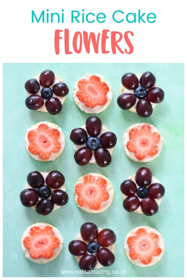 How to make cute and easy mini rice cake flowers - fun healthy party food idea for kids #EatsAmazing #partyfood #kidsfood #funfood #foodart #healthyrecipes #ricecake #fruit #cutefood #flowers #healthykids
