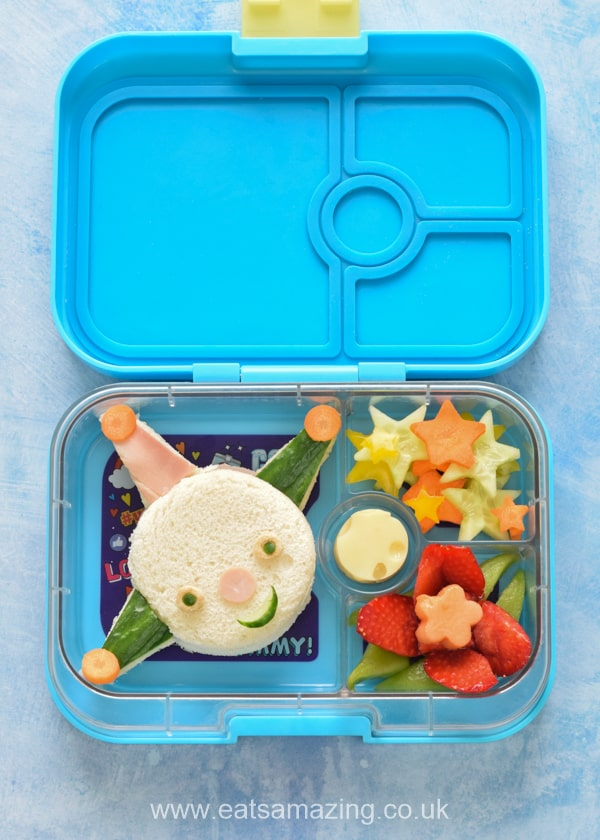 How to make a Moon and Me Themed Bento Lunch with Colly Wobble sandwich fruit Lily Plant and cheese moon - fun food art for kids