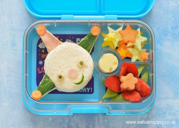 How to make a Moon and Me Themed Bento Lunch with Colly Wobble sandwich fruit Lily Plant and cheese moon - fun pcked lunch idea for kids