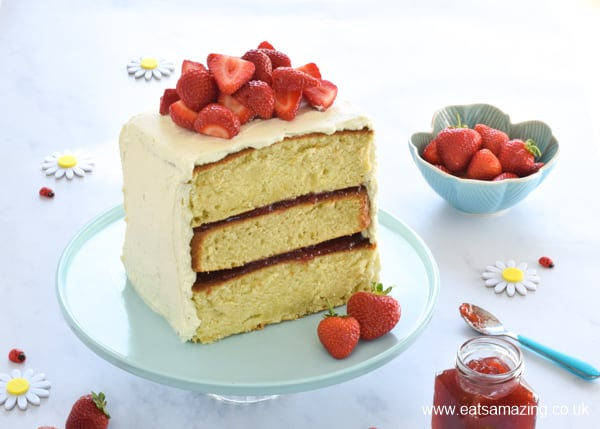 Beautiful Strawberry Layer Cake Recipe - perfect for summer