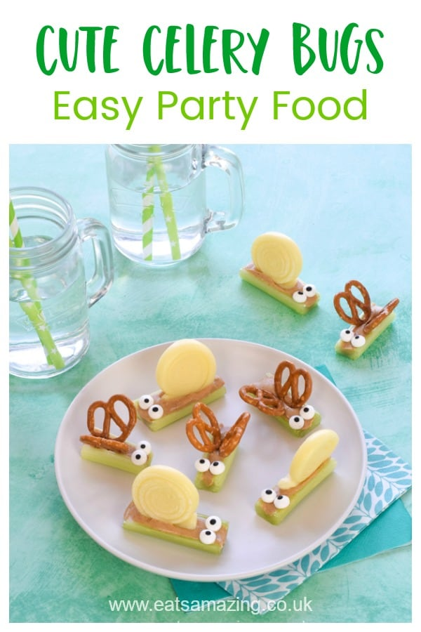 How to make cute and easy celery bugs - fun and healthy party food idea for kids with pretzel butterflies and cheese snails