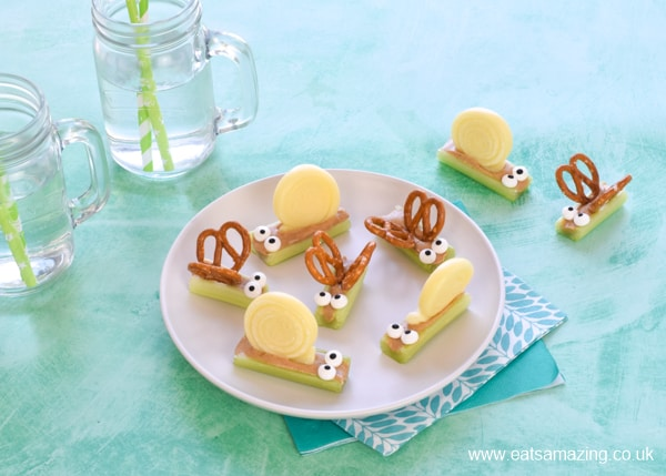 Quick and easy party food idea for kids - cute celery bugs with pretzel butterflies and cheese snails