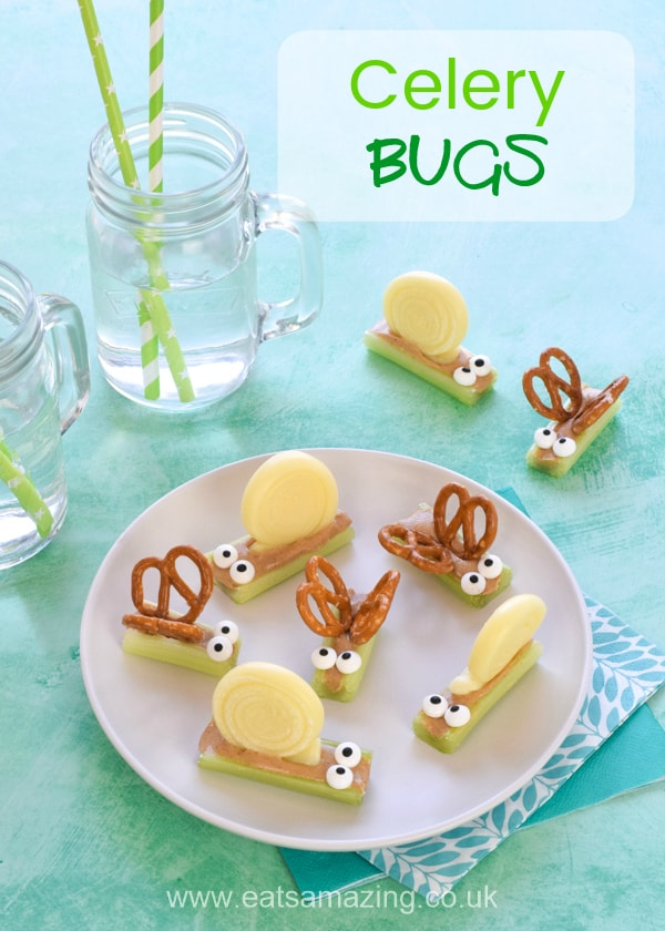 These super cute celery bugs make great kids party food - easy fun food tutorial