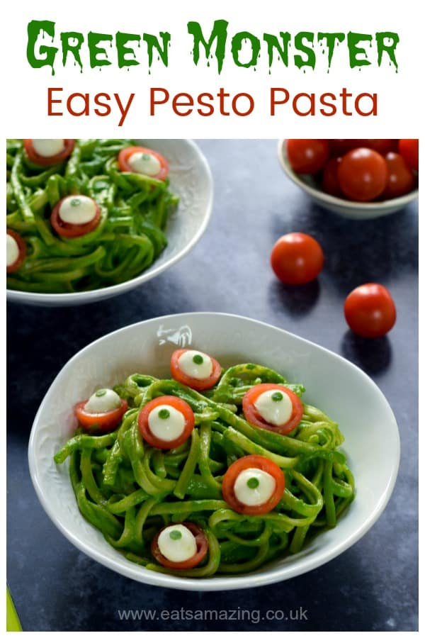 Easy healthy Halloween themed meal idea for kids - green monster pesto spaghetti with cheese and tomato eyes