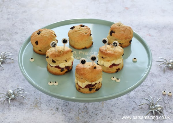 Monster themed scones on a turquoise cake stand
