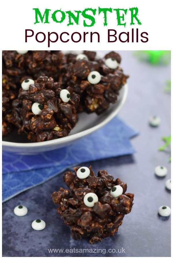 Bowl of Monster Themed Dark Chocolate Popcorn Balls - fun Halloween Treat for Kids
