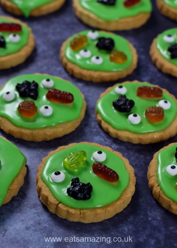 Green swamp monster Halloween shortbread cookies