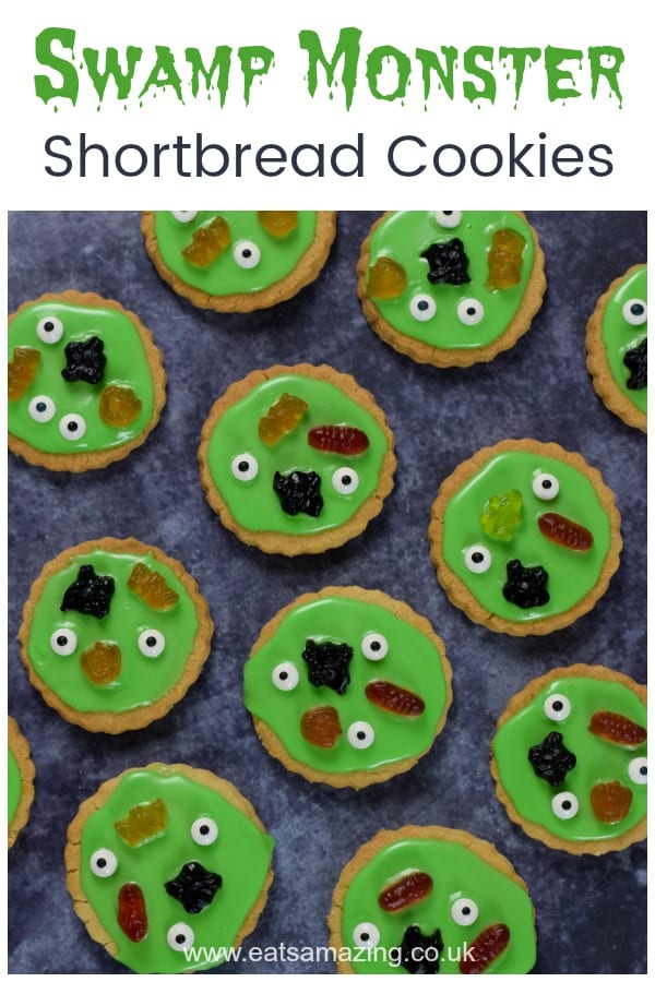 Fun and easy Halloween cookies recipe - these yummy swamp monster shortbread cookies are perfect for Halloween party food for kids