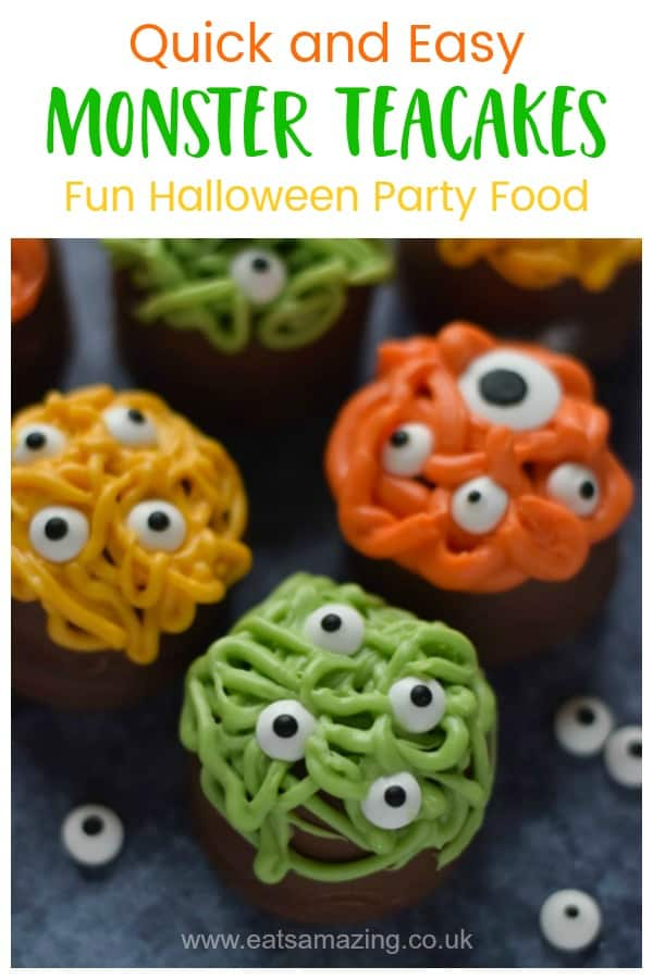 Fun and easy Monster Teacakes tutorial - quick cheats recipe for Halloween party food kids will love