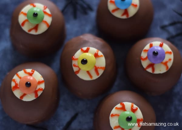 Close up of spooky eyeball teacakes - fun Halloween recipe for kids