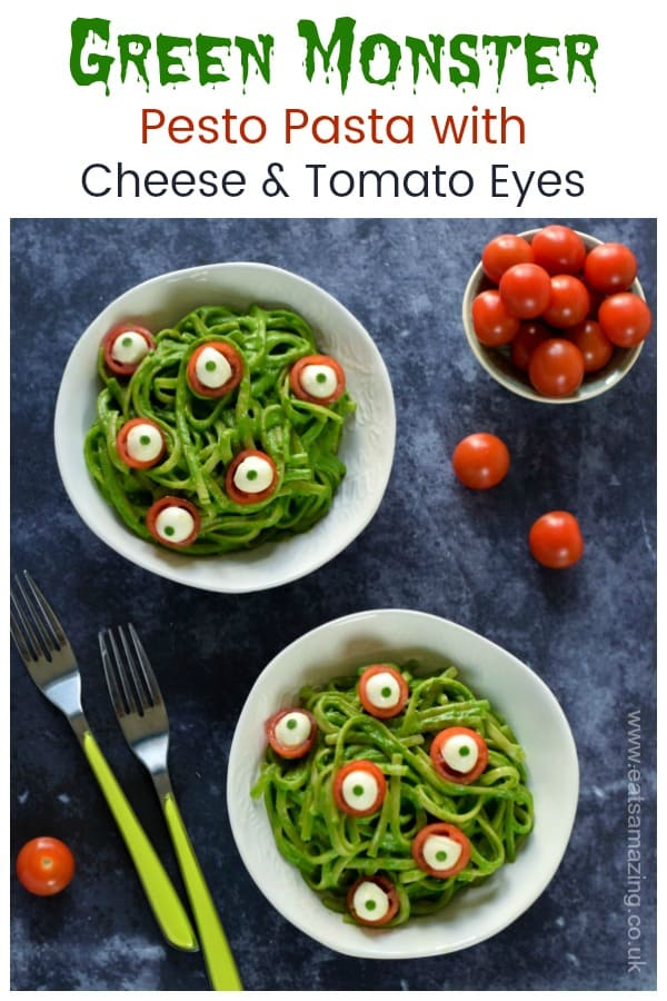 Fun and healthy Halloween dinner idea for kids - green monster pesto pasta with edible eyeballs