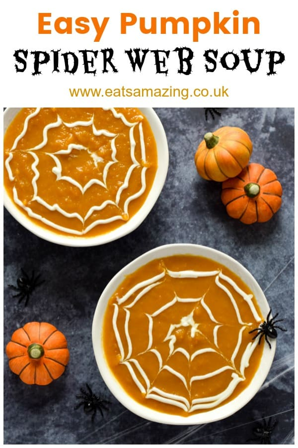 Easy pumpkin soup in bowls with yogurt spider web topping