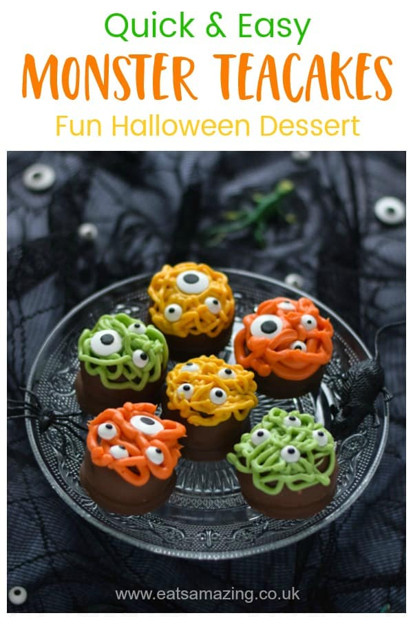 How to make Monster Teacakes - super quick and easy Halloween party food idea for kids