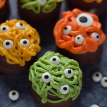 Close up of Monster themed Halloween tea cakes