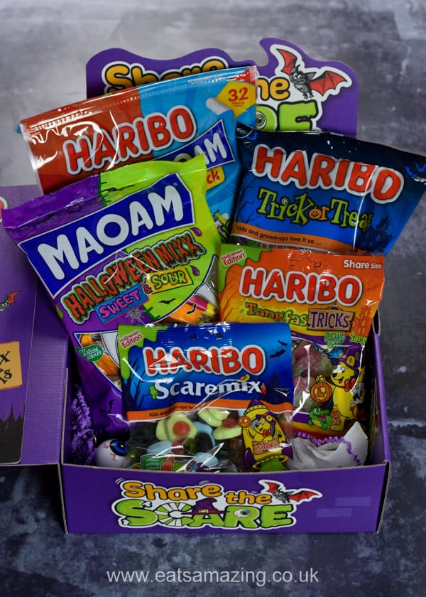 Inside our Haribo share the scare treat box - a selection of yummy Halloween treats